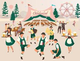 Oktoberfest flat vector illustration. Beer tent. Folk music and dances. Beer Festival, october fest show. Waiters in national costumes. Visitors with cups of alcohol. Volksfest cartoon characters