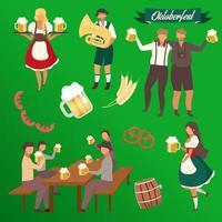 Conjunto de ilustraciones vectoriales planas de oktoberfest. visitantes con vasos de alcohol. camareros en pegatinas de trajes nacionales. barril y cebada. músico con trompeta. festival de la cerveza personajes de dibujos animados aislados vector