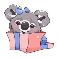 Cute koala kawaii cartoon vector character. Adorable and funny smiling animal in gift box isolated sticker, patch. Anime baby koala present, birthday surprise emoji on white background