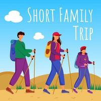 Short family trip social media post mockup. Hiking and camping. Active vacation. Advertising web banner design template. Social media booster. Promotion poster, print ads with flat illustrations vector