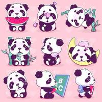 Cute panda kawaii cartoon vector characters set. Adorable, happy and funny animal eating watermelon, bamboo isolated sticker, patches pack. Anime baby panda bear sleeping emoji on pink background