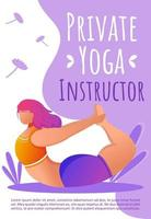 Private yoga instructor brochure template. Fitness class. Yoga pose. Bodypositive flyer, booklet, leaflet concept with flat illustrations. Vector page cartoon layout for magazine with text space