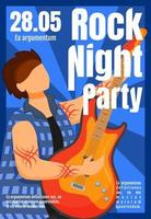 Rock night party brochure template. Guitarist. Concert, gig. Flyer, booklet, leaflet concept with flat illustration. Vector page cartoon layout for magazine. Advertising invitation with text space