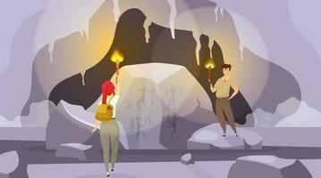 Expedition into caves flat vector illustration. Man and woman exploring inside mountain with torches. Female find mural painting. Male observing wall pictures. Tourists cartoon characters