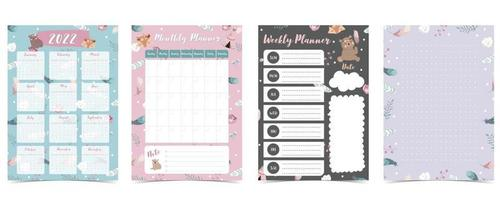 Cute 2022 table calendar week start on Sunday with bear cub that use for vertical digital and printable A4 A5 size vector