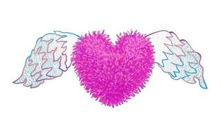 Colorful vector illustration of fluffy heart with wings isolated on white background. Valentines Day cartoon style illustration.