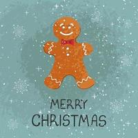 Vector modern greeting card colorful hand draw illustration of Christmas cookie man. Merry christmas. For design poster, card, banner, t-shirt print, invitation, greeting card, other graphic design