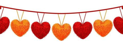 Vector colorful illustration of decortive elements with red and orange pompoms in shape heart hanging on the ropes as garland isolated on white background Decor Valentines day design. Seamless pattern