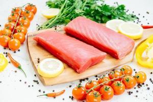 Raw tuna fish fillet meat photo