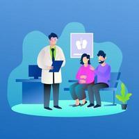 doctor, prueba, paciente embarazada, informe, ilustración, concepto, vector