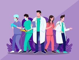 Medical doctor and nurse squad illustration concept vector