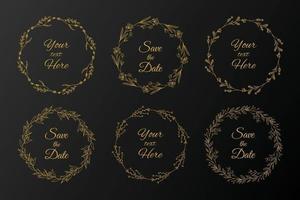 Hand drawn floral frames, wreath set vector