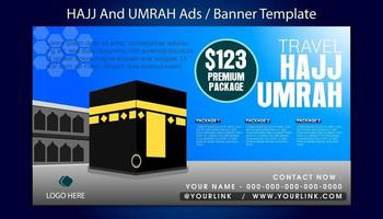 Hajj and Umrah banner template with sky blue background vector