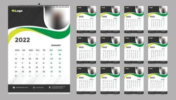 Monthly wall calendar template design for 2022, year. Week starts on Sunday. Planner diary with Place for Photo. vector