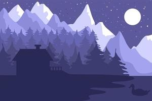 Forest house in the night coniferous forest vector