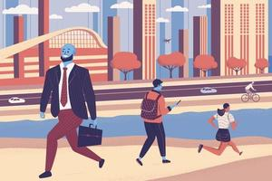People walking on the street with cityscape background. Landscape building panorama with skyscraper. Pedestrian men and women characters and cyclist hurry to work. Cartoon flat vector illustration.