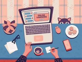 E-learning platform. Online education. Webinar and training courses. Workplace with laptop, cookies, cup of coffee and cat. Cartoon Flat Vector illustration. Online school advertising.