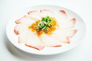 Raw fresh Hamaji fish meat sashimi in white plate photo