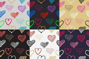 Love seamless pattern romantic doodle hearts unique hand drawn elements for Valentines Day and Wedding vector