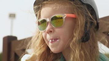 Preschooler girl eats ice cream video