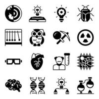 paquete de iconos sólidos de aparatos de laboratorio y ciencia vector