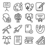 Pack of Science and Education Linear Icons vector