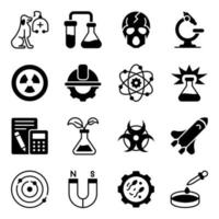 Pack of Science Solid Icons vector