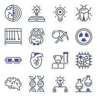 paquete de iconos planos de aparatos de ciencia y laboratorio vector