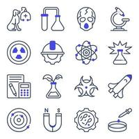 Pack of Science Flat Icons vector