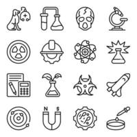 Pack of Science Line Icons vector