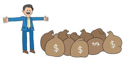 El joven de dibujos animados es muy rico y tiene muchos dólares, ilustración vectorial vector