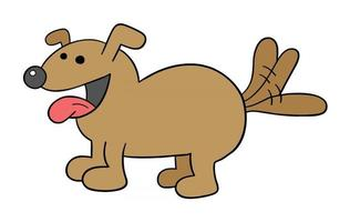 Cartoon Dog is Happy and Wagging its Tail Vector Illustration