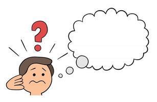 Cartoon Man Confused, Vector Illustration