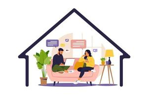 Women and man sitting in a sofa and working online at home. Social distancing and self-isolation during corona virus quarantine. Vector illustration. Flat style.