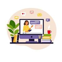 Online learning concept. Teacher at chalkboard, video lesson. Distance study at school. Vector illustration. Flat style.