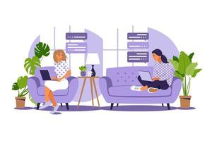 ilustración vectorial de trabajo autónomo. las niñas trabajan en la computadora en casa en el sofá. freelance o concepto de estudio. las chicas tienen mucho trabajo. ilustración vectorial de estudiante que estudia en casa. Departamento. vector