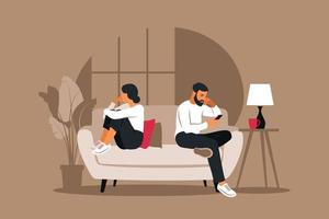 Man and a woman in a quarrel. Conflicts between husband and wife. Two characters sitting back to back, disagreement, relationship troubles. Concept of divorce, misunderstanding in family. Vector. vector