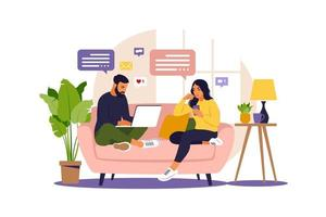 mujeres y hombres sentados en un sofá y trabajando en línea en casa. freelance, educación en línea o concepto de redes sociales. ilustración vectorial aislado en blanco. estilo plano. vector