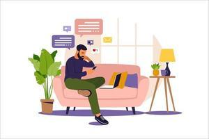 hombre sentado en un sofá y trabajando en línea en casa. freelance, educación en línea o concepto de redes sociales. ilustración vectorial aislado en blanco. estilo plano. vector
