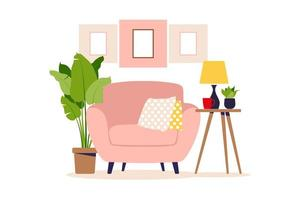 Modern armchair with mini table. Interior of the living room with furniture. Flat cartoon style. Vector illustration.