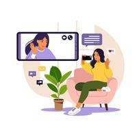 Woman using phone for collective virtual meeting and group video conference. Woman chatting with friends online. Video conference, remote work, technology concept. vector