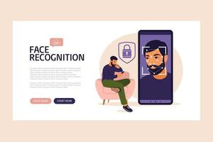 Facial recognition system landing page. Face ID. Mobile app for face recognition. Facial biometric identification system scanning on smartphone. Vector illustration