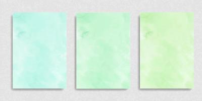 Set of mint green salad gradient watercolor vector background