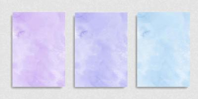 Set of violet purple blue watercolor brush paint vector stylized striped card