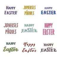 Easter hand drawn calligraphy set vector