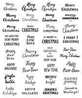 Big set of Handwritten phrase Merry Christmas vector