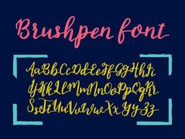 Vector hand drawn alphabet. Brushpen letters. Vintage lettering written with a brush.