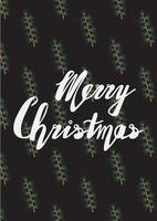 Handwritten phrase Merry Christmas Greeting Card vector