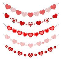 Set of hearts garlands. Bunting for Valentine day party, wedding, romantic date vector