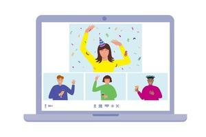 Online birthday home party concept. People on laptop screen celebrating,  communicating, dancing, drinking. Friends meeting  through video app vector
